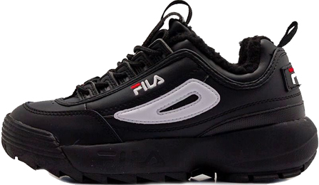 FILA DISRUPTOR 2 Black White с мехом